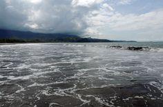 La playa de uvita en Costa Rica es obscuro.