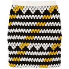 KENZO Bobble-knit wool-blend mini skirt (£195) ❤ liked on Polyvore featuring skirts, mini skirts, bottoms, saias, faldas, black, short skirts, pull on skirt, black mini skirt and striped skirt
