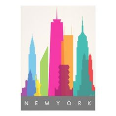 シンプル、カラフル、モダン。お部屋をお洒落に明るく彩る、ニューヨークモチーフのポスター。 #zazzle #ny #nyc