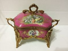 19th Century Sevres Porcelain Transparent and Painted FRENCH JEWELRY BOX. SIGNED sold $620