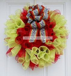 Lime Green & Red Holiday/Christmas Mesh Wreath W/ Zebra Print Bow. Adorable, would like to try and make one day.