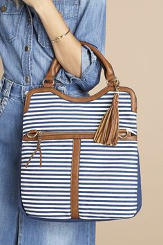Navy stripe canvas tote bag by Sole Society