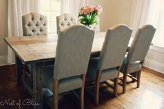 Wicker Emporium dining chairs paired with a rustic farmhouse table! - Nest of Bliss