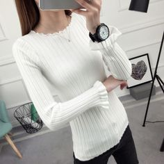 2019 Slim Fit women sweater Fashion Casual O-Neck Ruffles Sweaters Solid Winter Butterfly Sleeve Wear Long Sleeve Sweat Shirts Sweater Fashion, Sleeve Styles, Fit Women, Pullover Sweaters, Sweaters For Women, Slim, Female, Long Sleeve, Casual