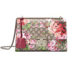 Gucci Padlock Blooms Shoulder Bag ($1,950) ❤ liked on Polyvore featuring bags, handbags, shoulder bags, multi rose, floral shoulder bag, gucci shoulder bag, floral leather purse, floral purse and real leather handbags