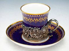 Spode Copeland  cobalt cup with sterling silver holder and saucer  1920
