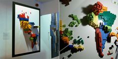 a lego wall map! how cool!