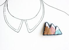 Pastel Mountain Brooch, Mountain Range Felt Pin, Peach, Aqua, Under 25 - READY TO SHIP on Etsy, $18.00