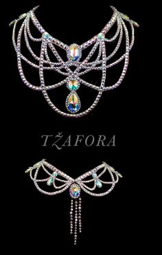 """Day In, Day Out"" - Swarovski ballroom necklace. Ballroom dance jewelry, ballroom dance accessories. www.tzafora.com Copyright © 2015 Tzafora. Handmade in Canada."