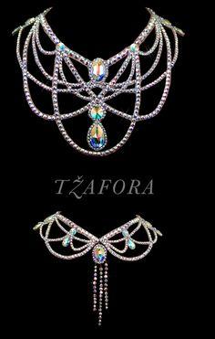 """Day In, Day Out"" - Swarovski ballroom necklace. Ballroom dance jewelry, ballroom dance accessories. www.tzafora.com Copyright © 2015 Tzafora. Handmade in Canada."