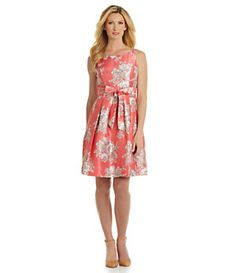 Jessica Howard Floral Shantung Fit-and-Flare Dress | Dillard's Mobile