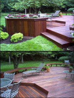 simple but large deck with planters and benches... love it!