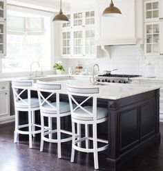 Dark Wood Kitchen Island For Some Awesome Contrast Love The Pale Blue Chairs Too