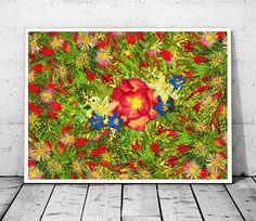 Instant Download Red and Green Gift Floral Fantasy Art