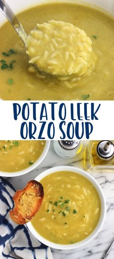 This healthy potato leek soup with orzo is thick and creamy without cream – or even milk! Orzo gets added to the soup near the end of cooking for a hearty addition to this easy soup recipe.