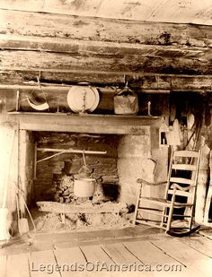 Cabin fireplace, 1894 She had a log cabin & a fireplace to cook Old Cabins, Log Cabin Homes, Cabins In The Woods, Old Pictures, Old Photos, Vintage Photos, Us History, American History, Cabin Fireplace