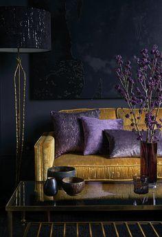 Colour Focus: Navy Blue & Orange | Blinds Direct Blog Living Room Orange, Home Living Room, Living Room Designs, Living Room Decor Purple, Room Colors, House Colors, Deco Cool, Purple Interior, Dark Interiors