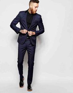 96683b9fb770b ASOS - Costume cintré - Bleu marine tonique chez ASOS Mens Skinny Suits,  Mens Slim