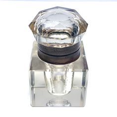 Antique Square Cut Crystal Glass Inkwell Faceted Top Brass Trim | Collectibles, Pens & Writing Instruments, Inkwells | eBay!