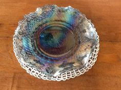 Vintage Indiana Iridescent Blue Carnival Glass Plate on Etsy, $18.00