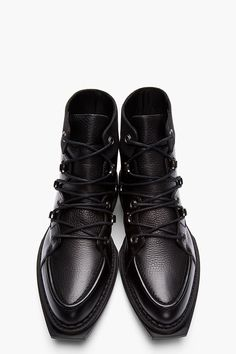 MCQ ALEXANDER MCQUEEN Black Leather Lace-up Lipp Boots