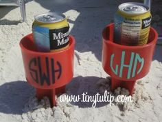 Monogrammed Spiker Beach Beverage Holder/ Just Spike It  Add your cold drink, phone, suntan oil. I NEED THIS SO BAD