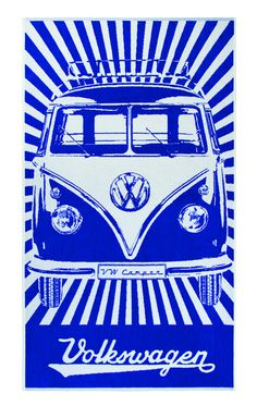 Blue VW Bus Beach Towel  Introducing the New VW Collections at www.coolvwstuff.com Hundreds of Officially Licensed Volkswagen Products and Ship Globally!