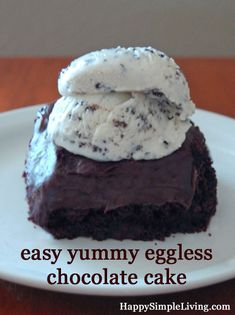 Easy Eggless Chocolate Cake. This egg-free chocolate cake is rich, fudgy and super easy. A yummy milk chocolate ganache glaze recipe is included, too!