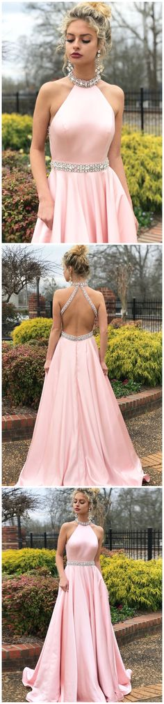 bde59466a530bf Simple A-line Prom Dresses Pink High Neck Cheap Beading Prom Dress/Evening  Dress AMY652