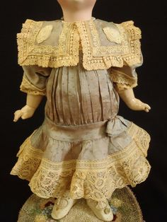 Factory made French Silk Dress & Bonnet size 6 Bru Jumeau Steiner antique doll