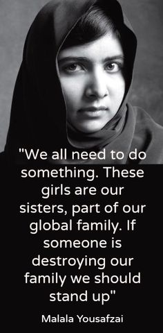 Malala Yousafzai campaigning for the missing girls abducted by Boko Haram in Nigeria.