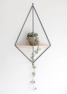6 Ways To Include Indoor Vines In Your Interior | Draping the vines of a small plant over the side of a unique hanging shelf adds life and color to your space but keeps the look simple and delicate at the same time.