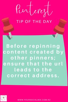 Don't repin spam or stolen pins! Click on the pin to ensure that it leads to the correct website/ blog post.  Follow my Pinterest Tip of the Day board or subscribe to my list for more Pinterest tips & tricks! Content Marketing, Social Media Marketing, Online Digital Marketing, Tip Of The Day, Social Media Content, Pinterest Marketing, Spam, Creative Business, Improve Yourself