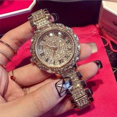 Hot Sale! Top Quality Women Watches Luxury Steel Full Rhinestone Wristwatch Lady Crystal Dress Watches Gold Female Quartz Watch Just look, that`s outstanding! Visit us