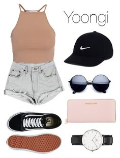 """""""Bts   Shopping with Yoongi"""" by kxtlkh ❤ liked on Polyvore featuring NLY Trend, Vans, MICHAEL Michael Kors, NIKE and Daniel Wellington"""