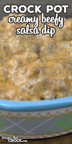 Do you love having that dip at a potluck that is gone first and everyone raves about? Then you want to make this Creamy Crock Pot Beefy Salsa Dip! via @recipescrock Slow Cooker Dips, Crock Pot Slow Cooker, Crock Pot Cooking, Slow Cooker Recipes, Crockpot Recipes, Cooking Recipes, Crock Pot Dips, Crock Pot Tacos, Appetizer Dips