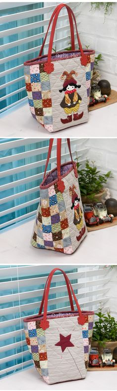 Appliqued bag with square patched side panels