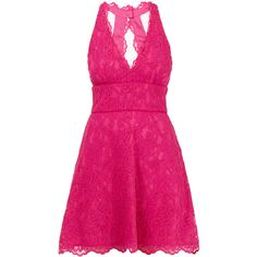 Nicole Miller Pink Floral Lace Flare Mini Dress (745 RON) ❤ liked on Polyvore featuring dresses, pink, floral fit-and-flare dresses, lace halter top, lace mini dress, short pink dress and floral lace dress
