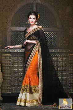 Pavitraa Black with Orange Party Wear Sarees Rs 5550.3 #saree #partywearsaree #onlinesareeshopping