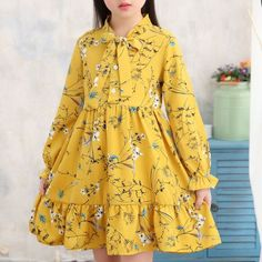 Flower Girls Dresses Long Sleeve A Line Chiffon Dress For is cheap, come to NewChic and buy cute flower girl dresses now! Stylish Dresses For Girls, Stylish Dress Designs, Frocks For Girls, Little Girl Dresses, Flower Girl Dresses, Flower Girls, Dresses For Kids, Girls Dresses Sewing, Baby Dresses