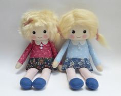 rag doll cloth doll in pink and blue dress blonde haired by Lybo