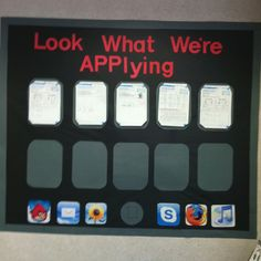 "My large iPad / iPhone bulletin board. My students LOVE ""Angry Birds,"" so this was a great motivator!"