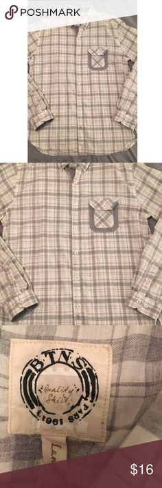 """Men's Gray Flannel Great condition, no flaws, very cool design, worn maybe once. 31"""" from collar to hem. BTNS Shirts Casual Button Down Shirts"""