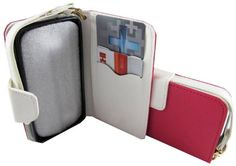 myLife Cerise Pink + Brilliant White {Modern Design} Faux Leather (Multipurpose - Card, Cash and ID Holder + Magnetic Closing) Folio Slimfol...