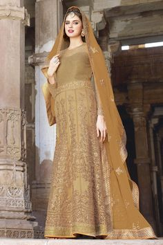 #Rakshabandan #SalwarSuit Buy This Beige Net Traditional Floor Length Gown Style Salwar Kameez with Embroidery Work. Buy Now:- http://goo.gl/4RE3py #CashOnDelivery & #FreeShipping only in India. For Other Query Just Whatsapp Us on +91-9512150402 Or Mail Us at info@lalgulal.com.