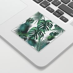 Tropical Summer Leaves Jungle Pattern Sticker by anitabellajantz Cute Laptop Stickers, Jungle Pattern, Tropical Decor, Tech, Leaves, Summer, Art, Art Background, Technology