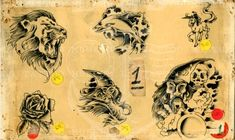 Traditional Flash, American Traditional, Vintage Flash, Vintage Art, Traditional Lion Tattoo, Tattoo Museum, Tattoo Flash Sheet, Special Tattoos, Destiny's Child