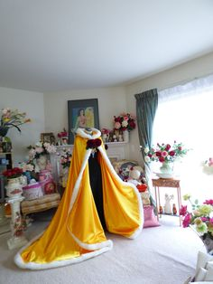 Belle Inspired Beauty and the Beast Bridal cape 52/67 inch Yellow (Saffron) Satin wedding cloak fur-trimmed Hood Handmade in USA by capeandcrown13 on Etsy