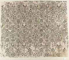 """Panel of blackwork, British, 1580-1620 linen worked with silk thread, buttonhole, cross, outline and herringbone stitches 17.25""""x21"""""""