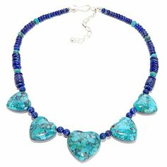 "Jay King Reversible Gemstone Hearts 18"" Necklace"